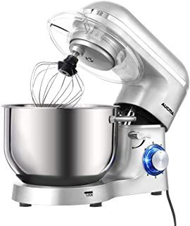 Aucma Stand Mixer,6.5-QT 660W 6-Speed Tilt-Head Food Mixer, Kitchen Electric Mixer with Dough Hook, Wire Whip & Beater (6.5QT, Silver)