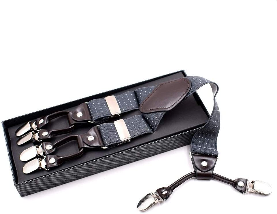 ZYDP Mens Suspenders Adjustable X-Back Heavy Duty Clip Dots Jacquared Suspenders - Elastic, Big & Tall (Color : Grey)