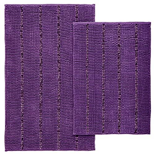 Tayis Purple Bathroom Rugs Set, 2 Piece Striped Bath Rugs Absorbent Plush Chenille Bath Mats for...