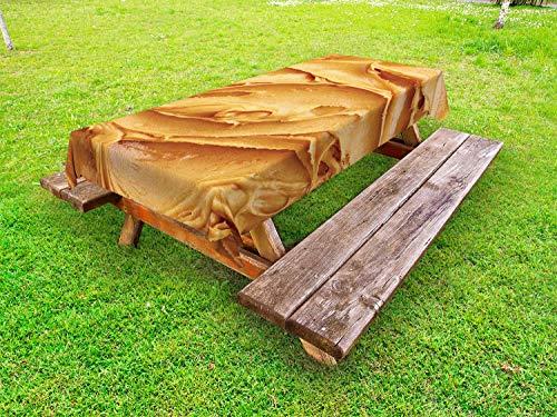 ABAKUHAUS Pindakaas Tafelkleed voor Buitengebruik, Amerikaans ontbijt, Decoratief Wasbaar Tafelkleed voor Picknicktafel, 58 x 104 cm, Licht bruin