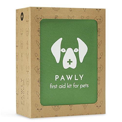 Pawly Erste-Hilfe-Set für Haustiere - Enthält über 40 Premium-Artikel - Zeckenentferner, Spritze, Bandagen, Tücher und Lanzetten