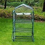 SUREH Cubierta de 3 niveles para invernadero transparente Warmhouse de PVC reforzado con cubierta de repuesto de plástico PVC portátil para jardín, cubierta con cremallera (sin marco de hierro)