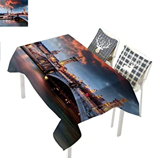 All of better Paris Decor Kitchen Tablecloth Alexandre 3 BridgeParis Rectangle Tablecloth W60 xL102 inch France Palace Golden Color Peaceful Surface Waterscape