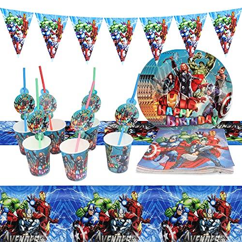 Gxhong 30-teiliges Party-Set The Avengers Gebutstag Party Set, Partygeschirr Set, Teller Becher Servietten Trinkhalme Wimpel für 6 Kinder, Kindergeburtstag, Party Deko, Baby Shower