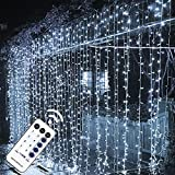 MAGGIFT 304 LED Curtain String Lights, 9.8 x 9.8 ft, 8 Modes Plug in Fairy...