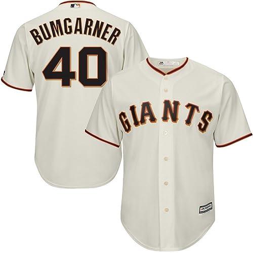 832451c284f VF San Francisco Giants MLB Mens Majestic  40 Bumgarner Cool Base Jersey  Cream Big