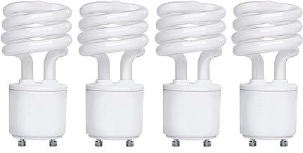 GoodBulb 13 Watt CFL Light Bulbs - T2 Spiral Compact Fluorescent - GU24 Light Bulb Base - 2700K 800 Lumens - 4 Pack