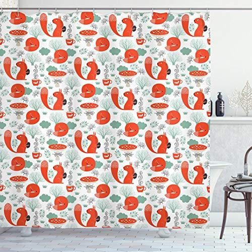 ABAKUHAUS Fuchs Duschvorhang, Waldtiere & Laub, mit 12 Ringe Set Wasserdicht Stielvoll Modern Farbfest & Schimmel Resistent, 175x200 cm, Mandelgrün Dunkle Koralle