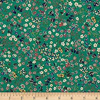 Liberty Fabrics 0512869 Contemporary Classic Tana Lawn Donna Leigh Green Fabric by The Yard,