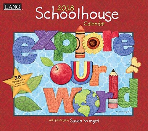 "Lang - 2018 Wall Calendar -""Schoolhouse"", Artwork by Susan Winget - 12 Month - Open 13 3/8"" X 24"""