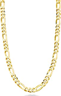 Dubai Collections 24K Figaro 5mm Gold Chain Necklace Jewelry Men/Women Life Time USA Made Gift 18-28 Inches