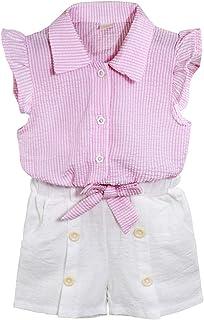 itkidboy Conjunto de 2 Piezas de Camisa a Rayas con Cuello de Manga Larga y Pantalones Cortos Informales con Botones
