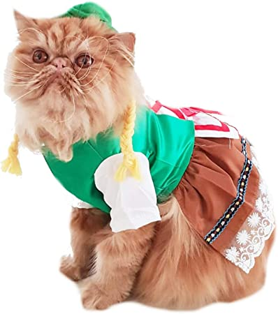 Glamour Girlz Super Cute Dogs Cats Dress Up Halloween Funny Female Dirndl Dress Costume Oktoberfest German Lederhosen Outfit Large Amazon Co Uk Pet Supplies