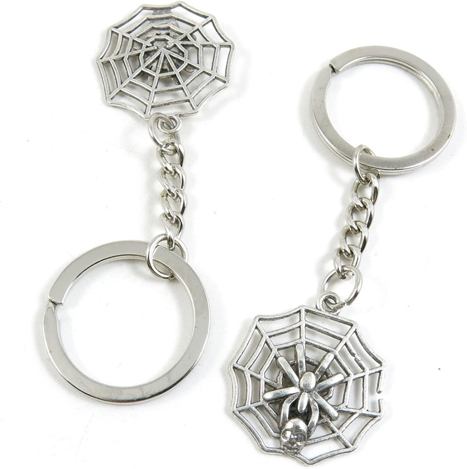 100 Pieces Keychain Keyring Door Car Key Chain Ring Tag Charms Bulk Supply Jewelry Making Clasp Findings F8IK3M Spider Net Cobweb