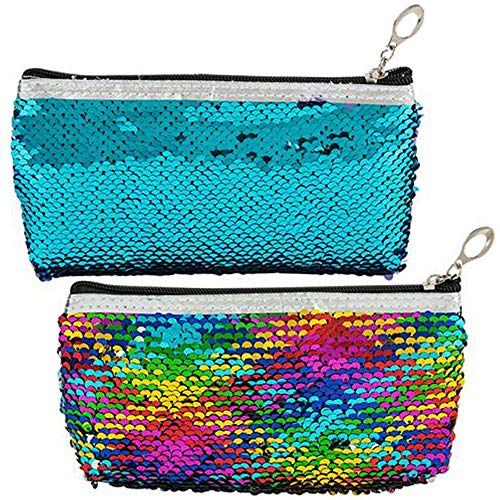 ArtCreativity Flip Sequin Pencil Case, Set of 2, Cute Zipper Pen Holder or Makeup Pouch with Color Changing Sequins, Fun Back to School Supplies for Girls and Boys, Best Gift Idea for Kids