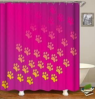 Hydfu Cortina De Ducha De Tela De Poliéster De Calidad Elegante Rosa Fondo Rojo Animal Paw Print Gradiente Tema Impresión Cortina De Baño Impermeable para Duchas De Baño Y Bañeras (12 Ganchos)