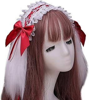Beautiful crown Giapponese Lolita Furry Coniglio coniglietto Bunny Heads Fascia per donna Girls Regali, Ruffles Nastro in ...