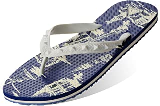 Men's Summer Flip Flops, European Style Retro Printing Slippers Sandals Comfortable Non-Slip Toe Post Thongs Beach Shoes for Apartments, Hotels, Houses,Travel,41