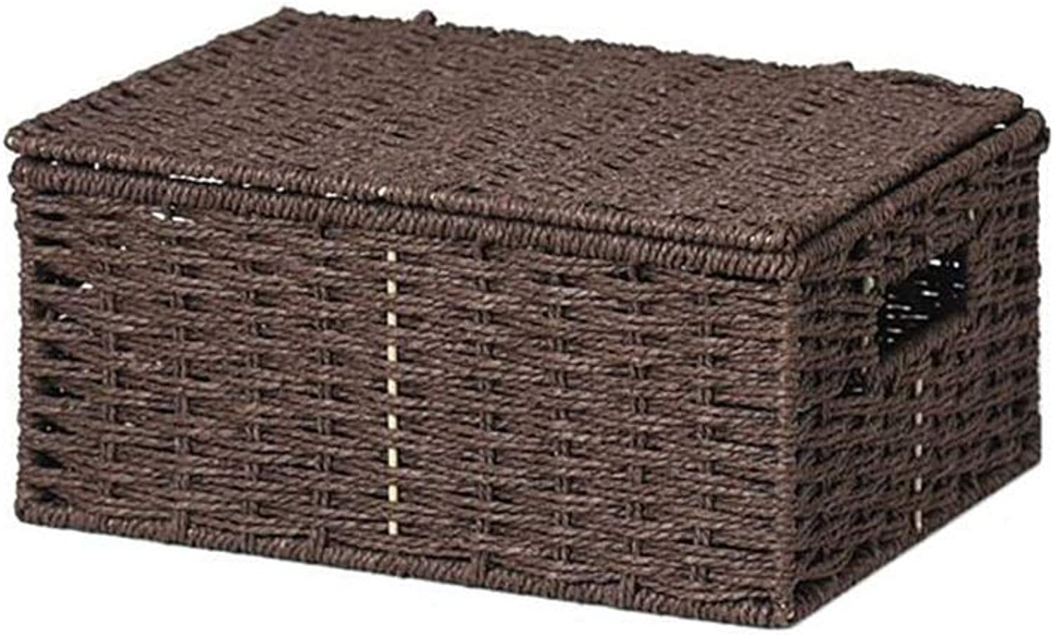 MUMA Storage Box Handicraft Woven with Lid Handle Sundries Snack Desktop Organizer Container (color   Coffee color, Size   30x22x14cm)