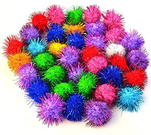 baotongle Assorted Color Sparkle Balls, Tinsel Pom Poms Glitter for Cat Kittens DIY Christmas (1'', 10 Assorted Color)