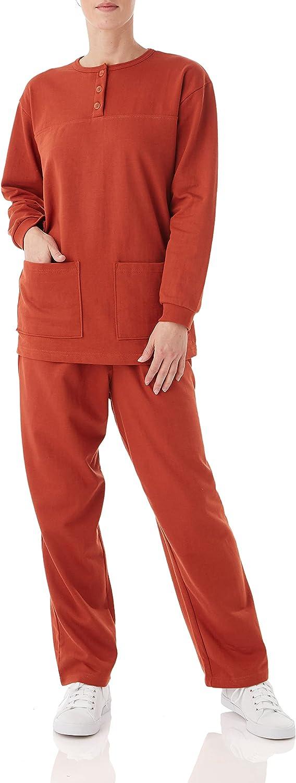 Women's Casual Two Piece Oklahoma City Mall Max 51% OFF Fleece Top Pullover Henley Pantset Swea