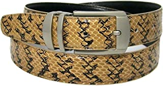 """Men`s Taupe Brown 1.25"""" Wide Bonded Snakeskin Belt with Stylish Buckle"""