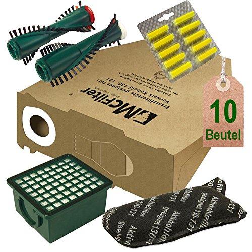 Juego de filtros y cepillos para aspiradora Vorwerk Kobold VK 130, Kobold VK 131 y 131 SC con EB 350 / EB 351