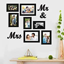 Art Street Synthetic Wooden MR & Mrs MDF Plaque Wall Photo Frame with Hanging Accessories for Home Decor (Black, 4x6, 5x7,...