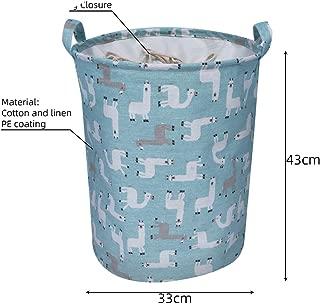 Krystal_wisdom Folding Collapsible Laundry Basket Large Capacity Drawstring Closure Laundry Hamper Canvas Storage Organizer with Handle Bin 1pc,A5,