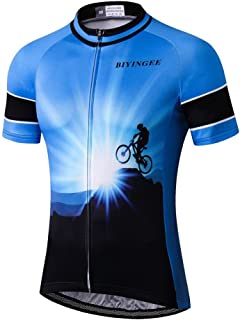BIYINGEE Men's Cycling Jersey Short Sleeve with Big Reflective Tape