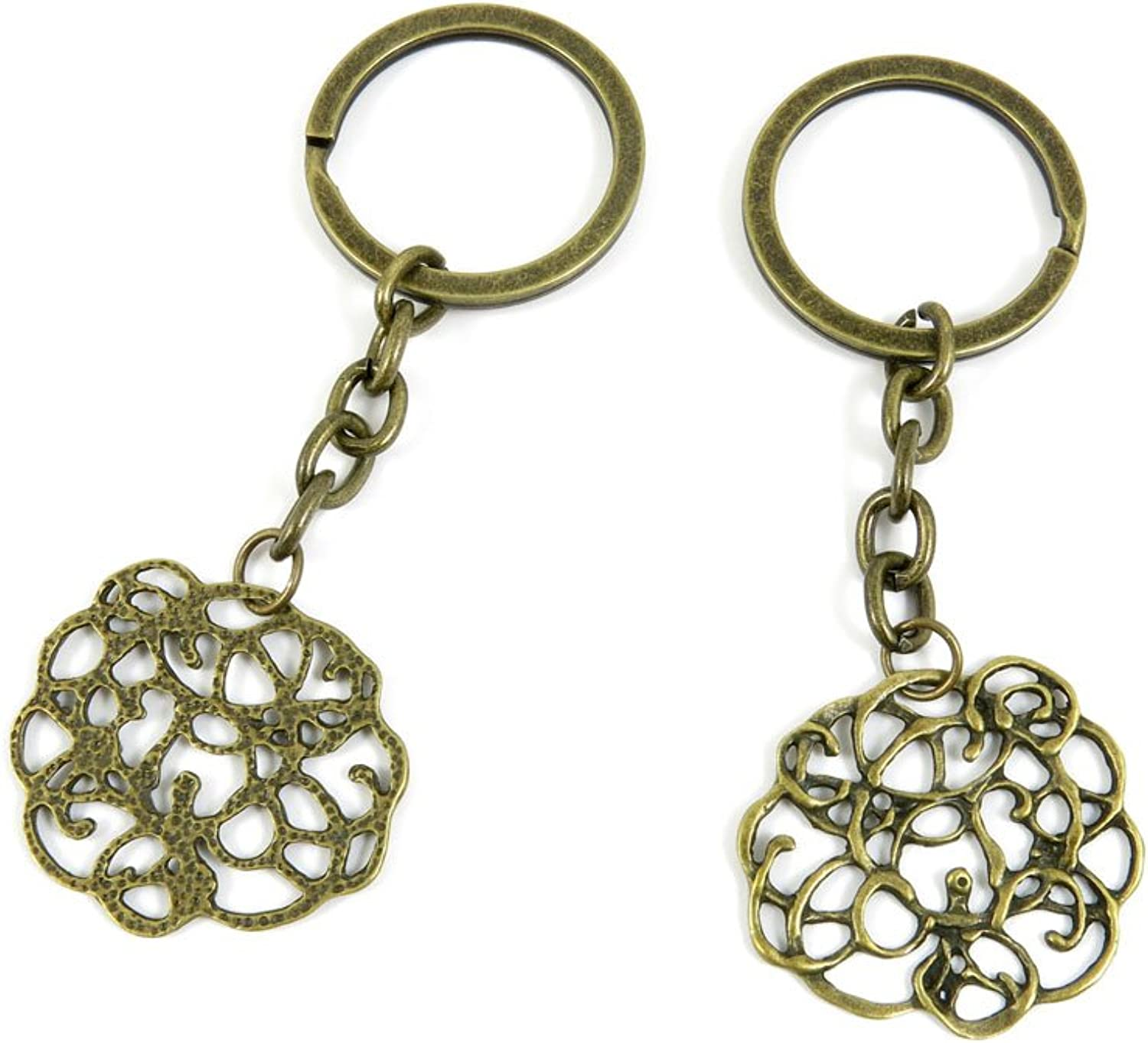 100 PCS Keyrings Keychains Key Ring Chains Tags Jewelry Findings Clasps Buckles Supplies F1VK7 Flower Vine