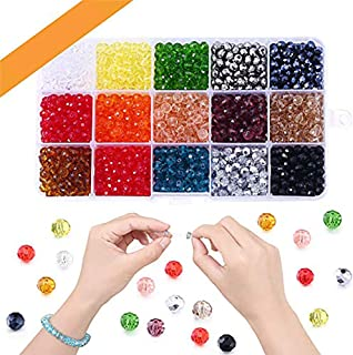 SAPU 1500pcs 6mm Glass Beads for Jewelry Making, Lucky Goddness Round Faceted Shape Colourful Crystal Spacer Beads Assortm...