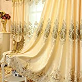 2er-Set Europäische goldene Luxuxjacquard-Vorhänge für Schlafzimmer Wohnzimmer (245*140 cm)