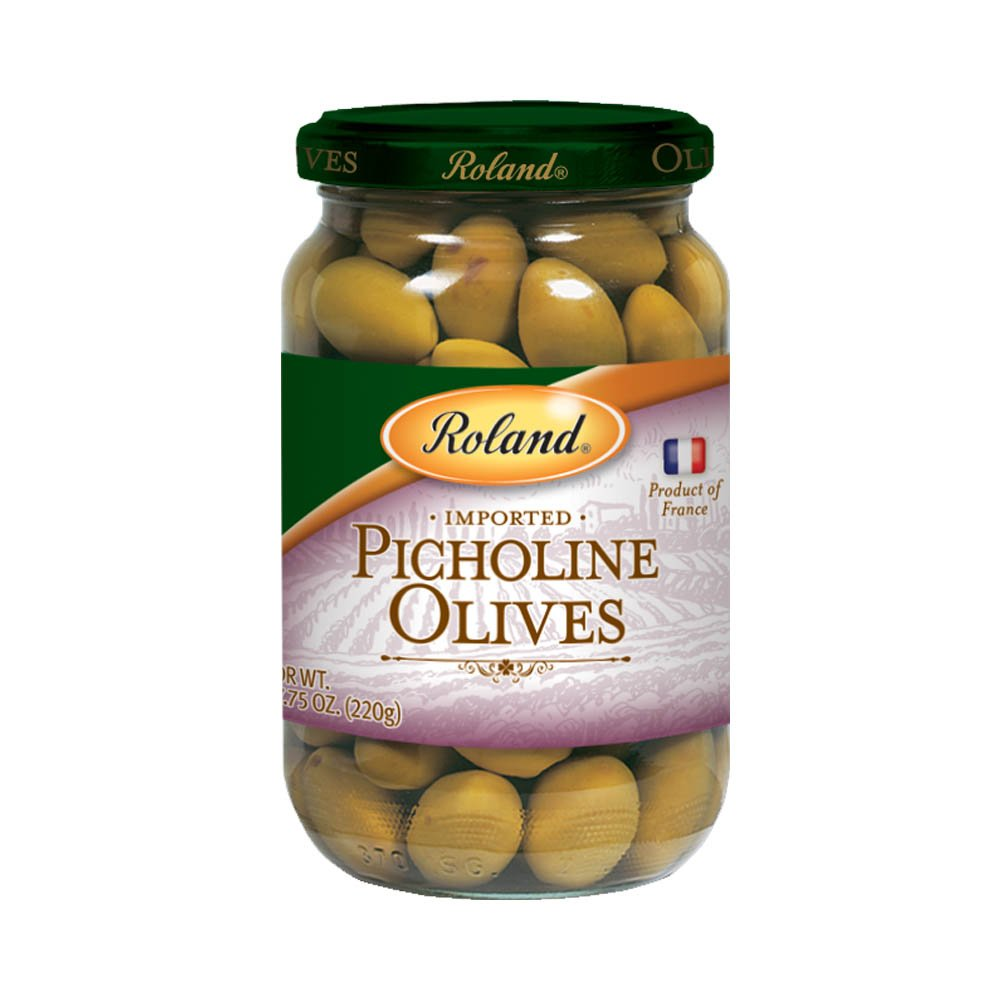 Roland Foods Whole French Picholine Green Olives, Whole Olives with Pits, Specialty Imported Food, 7.76-Ounce Jar