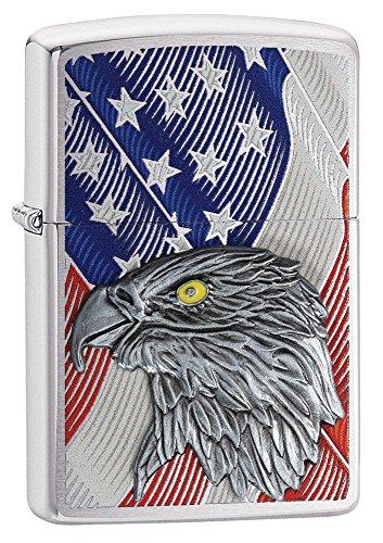 Zippo Unisex– Erwachsene Eagle Flag Benzinfeuerzeug, Transparent, 6 x 6 x 8 cm