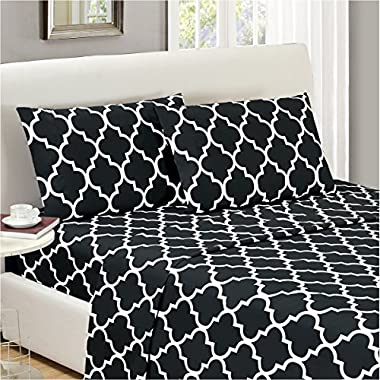 Mellanni Bed Sheet Set Queen-Black Brushed Microfiber Printed Bedding - Deep Pocket, Wrinkle, Fade, Stain Resistant - Hypoallergenic - 4 Piece (Queen, Quatrefoil Black)
