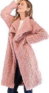 9fcffd8957e Aofur Luxury Faux Fur Parka Coat Long Lapel Trech Jacket Winter Outerwear  Warm Overcoat Women Size