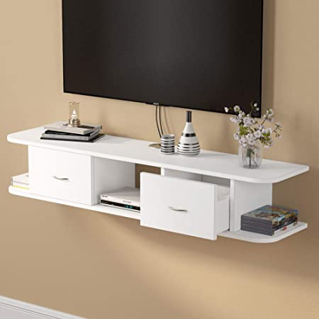 Floating TV Shelf, Tribesigns White Wall Mounted Media TV Stand Console with Drawers, Floating TV Component Shelf Desk Storage Hutch for Cable Boxes/Router/DVD Player (White)
