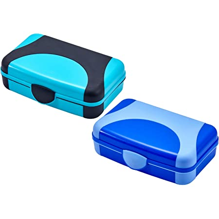 Double Lidded Snap-Closed Pencil Case Box Blue