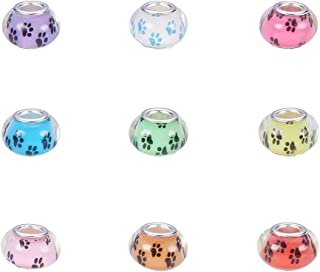 NBEADS 100 Pcs Random Mixed Color Dog Paw Prints Pattern Acrylic European Beads, Large Hole Rondelle Charms Beads Loose with Silver Tone Brass Double Cores fit Snake Chain Bracelet Jewelry Making