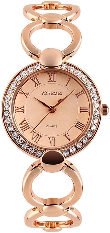 Fashion Ladies Watch Round Crystal Zircon Diamond Bracelet Female Watch (color   1)