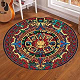Round Floor Mat with Art Ancient Mexico Mayan Totem Pictures, Printing Carpet For Entryway Living Room Dining Room Bedroom, DIY Family Home Decoration Area Rug Mat, Washable Abstract Carpet 39''/100cm