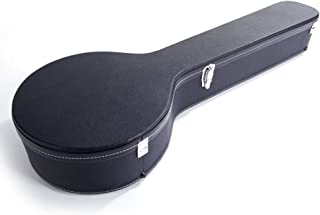 Microgroove Pattern Leather Wood Banjos Case Black (5-String)