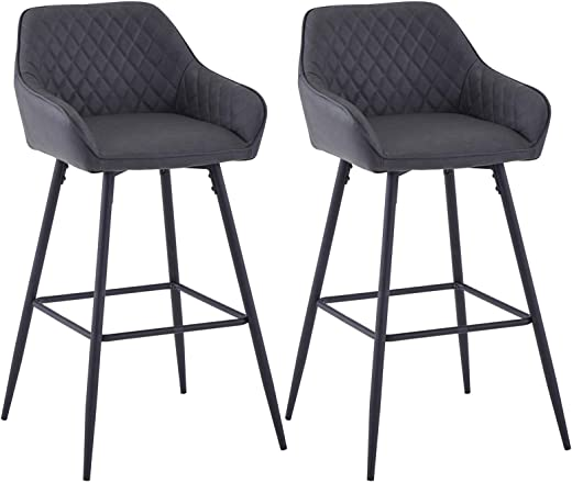 JaHECOME Barhocker 2er Set Samt Gepolstert Barstühle mit Fußlehne Armlehne Küche hohe Hocker unterstützt Schwarze Metallbeine für Zuhause Küche und…