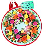 clutter armour Spring Wreath Storage - Water Resistant Holder with Clear Plastic Front for 24 Inch Wreaths - Modern Storage Bag - Protection for Holiday and Christmas Wreaths
