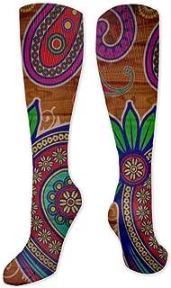 Calcetines de poliéster y algodón por encima de la rodilla, retro, unisex, para muslo, cosplay, botas largas, para deportes, gimnasio, yoga-boho