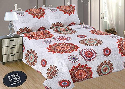ForenTex- Colcha Boutí reversible, (M-2632), cama 135 cm, 230 y 260 cm, Estampada cosida, Mandala Naranja, colcha barata, set de cama, ropa de cama. Por cada 2 colchas o mantas paga solo un envío (o colcha y manta), descuento equivalente antes de finalizar la compra.