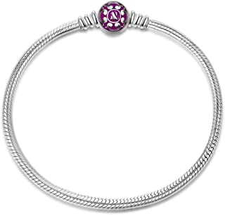 925 Sterling Silver Snake Chain Bracelet with Purple Clasp Charms 7.5 Inches Fit Pandöra Bracelet Charms Christmas Gifts for Women Birthday Anniversary Gifts for Her Wife Mom Teen Girls