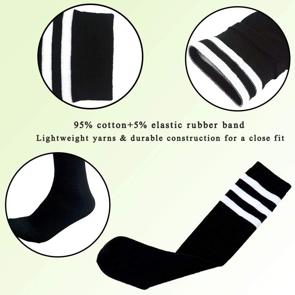 AnjeeIOT 1 Pair Kids Soccer Socks, School Team Dance Sports Socks, High Socks For 5-10 Years Old Youth Boys & Girls