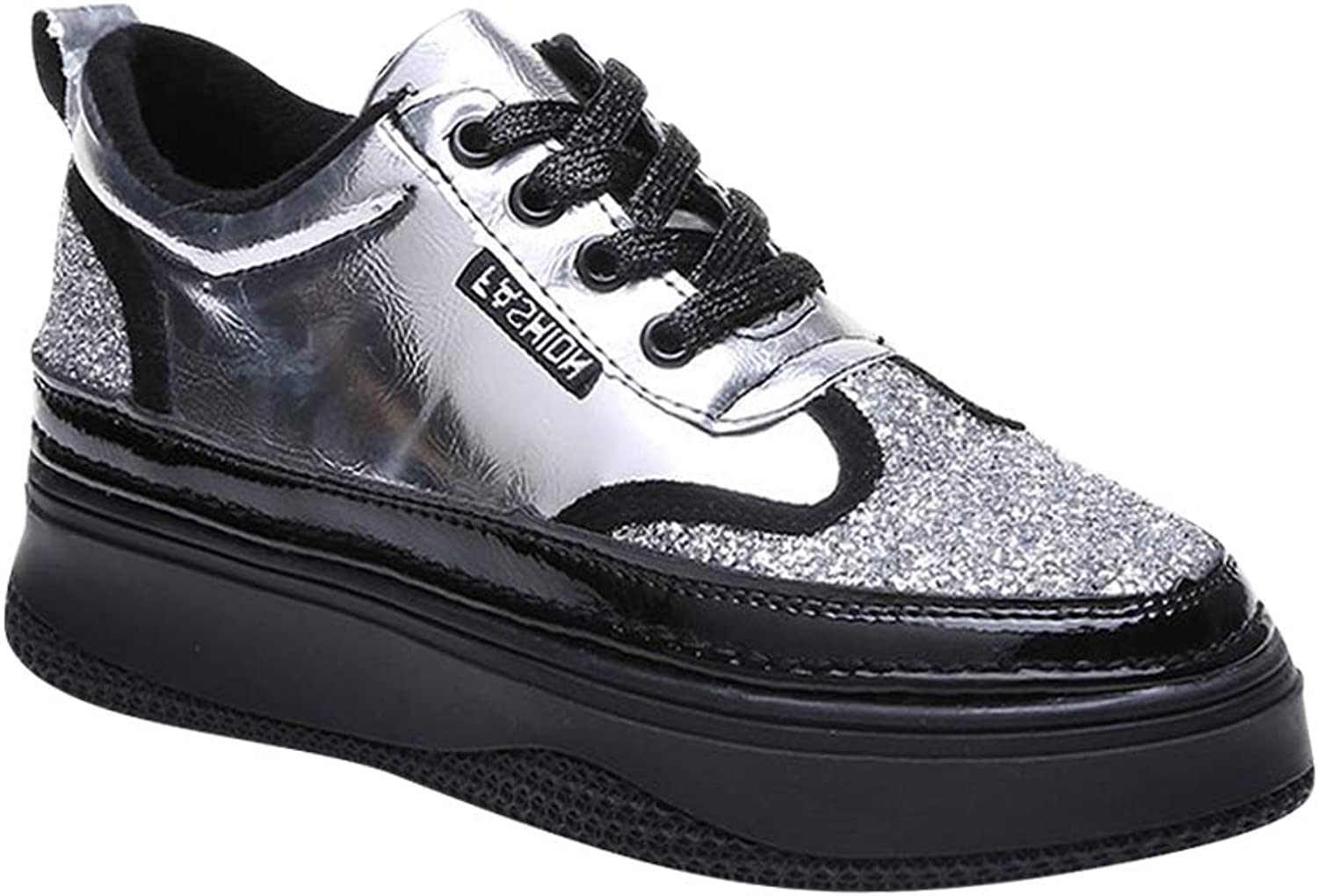 Yudesun Womens Platform Trainers - Mid Wedge Hidden Heels Casual Lace up Sneakers Glitter Sequin Round Toe Solid Chunky shoes